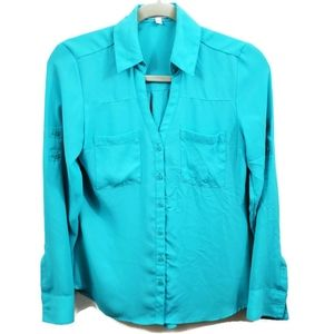 Express | The Portofino Bright Blue Career Blouse